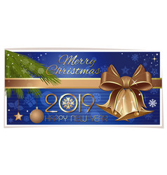 horizontal banner with gold jingle bells vector image