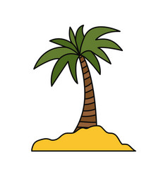 island with palms symbol vector image