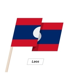Laos Ribbon Waving Flag Isolated on White vector image