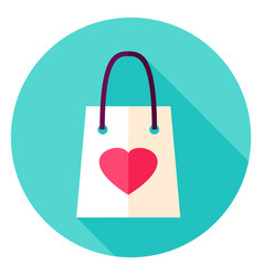 Love shopping bag circle icon vector