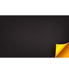 Luxury black background with golden folded corner vector image