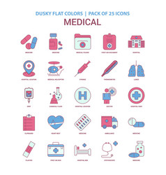 medical icon dusky flat color - vintage 25 icon vector image