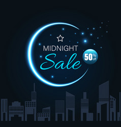 Midnight sale with crescent moon vector