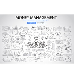 Money Management concept with Doodle design style vector