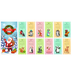 Monthly calendar santa christmas gifts animals vector