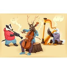 Musician cartoon animals vector