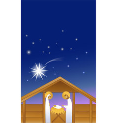 Nativity scene with Holy Family vector image