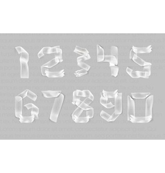 Numbers from adhesive transparent tape vector