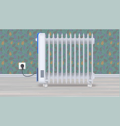 oil radiator in room with wallpaper white vector image