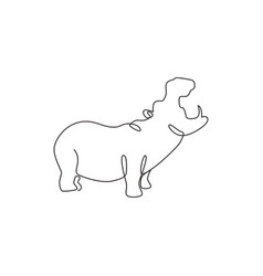 one continuous line drawing big cute vector image