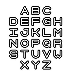 Outline font and alphabet vector