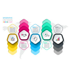 pentagons label infographic with 5 steps vector image