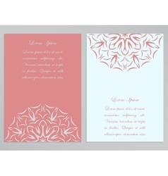 Pink and white flyers with ornate flower pattern vector