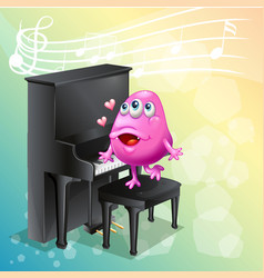 pink monster playing piano vector image
