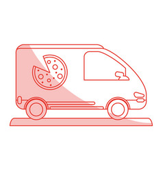Pizza car shadow vector