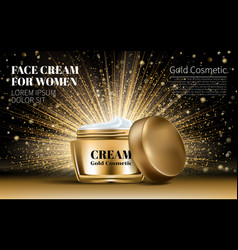 Realistic gold women cream for eye and face bottle vector