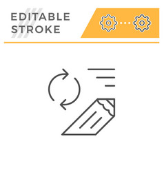 review editable stroke line icon vector image