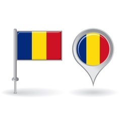 Romanian pin icon and map pointer flag vector