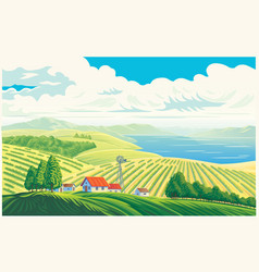 Rural landscape with a beautiful view distant vector