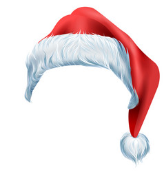 Santa red hat with fluffy edge shaggy fur vector