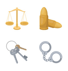 Scales of justice cartridges a bunch of keys vector