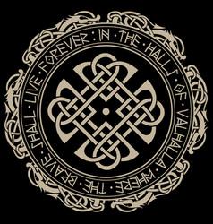 Scandinavian pattern and circle norse runes vector