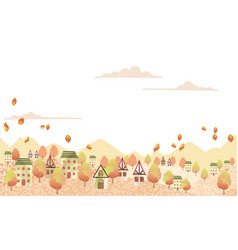 Seamless hilly landscape with an idyllic village vector