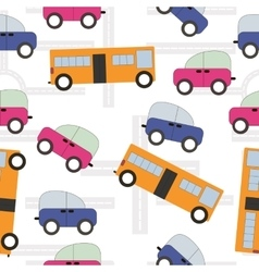 seamless texture urban transport car bus kids vector image