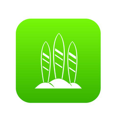 Serfing board icon digital green vector