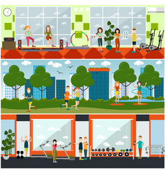Set of gym flat posters banners vector