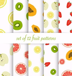 Set of seamless fruit patterns vector image