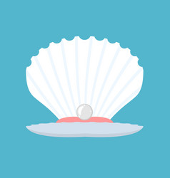 Shell with pearl open conch production natural vector