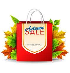 shopping bag with autumn sale isolated on white ba vector image