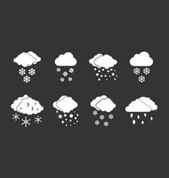 snow cloud icon set grey vector image