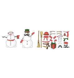 snowman constructor for designing postcard in vector image