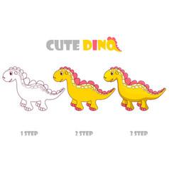 step step coloring girly orange cute dino vector image