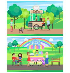 street food posters colorful vector image