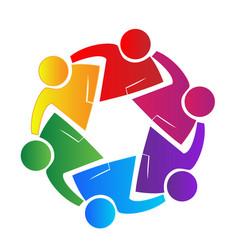 Teamwork people working together logo vector