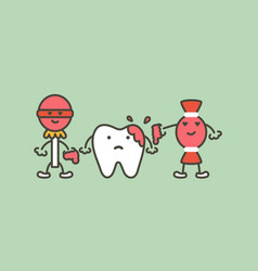 teeth are smudged from sweet - decay tooth concept vector image