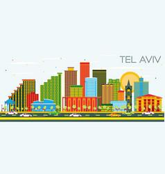 Tel aviv israel city skyline with color buildings vector