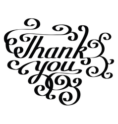 Thank you lettering hand-drawn composition vector image