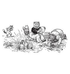 The animals picnic vintage vector