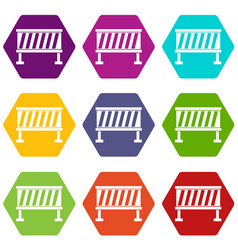 traffic barrier icon set color hexahedron vector image