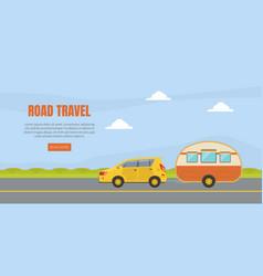 Travel van informative banner for renting vector
