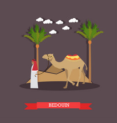 Trip to egypt arab bedouin concept flat vector