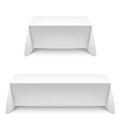 two white rectangular with table tablecloth on vector image