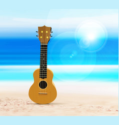ukulele on beach against background of vector image