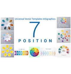 universal templates set infographics 7 positions vector image