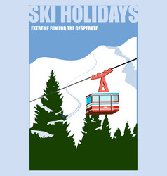 vintage winter background poster red ski lift vector image
