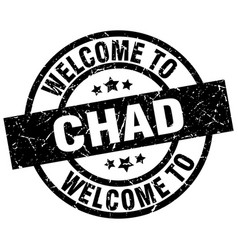 welcome to chad black stamp vector image